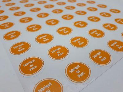 Planches étiquettes sur-mesure impression en couleur DIAM. 2,5 cm